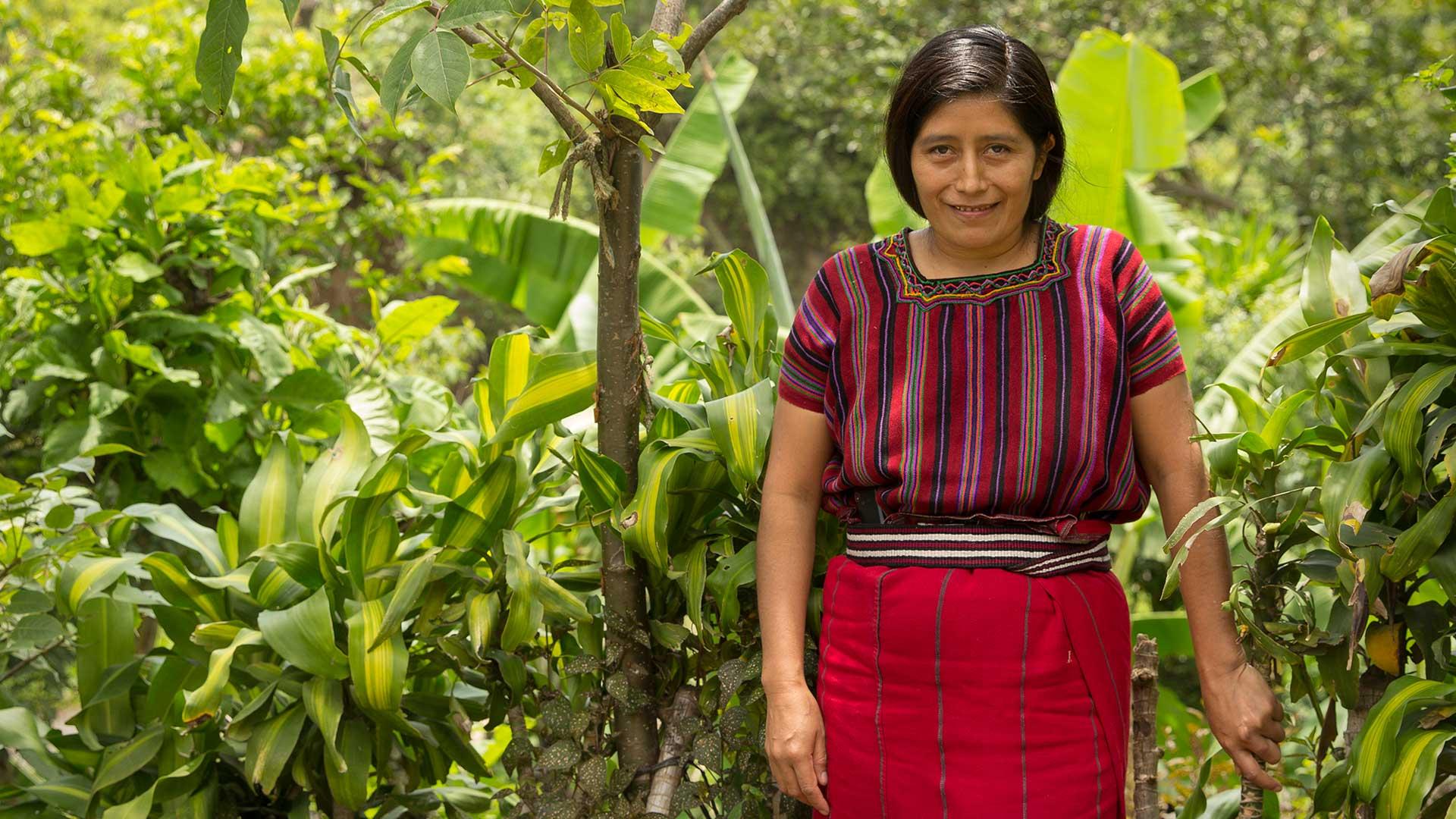 Magdalena, konsthantverkare som tillverkar smycken åt Wakami, poserar i praktfull indiandräkt mot en bakgrund av regnskogsgröna växter.