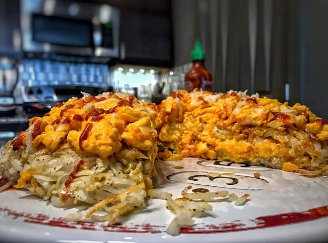 High-Protein Cheesy Hash Brown Breakfast Layer Cake: MasonFit Monthly