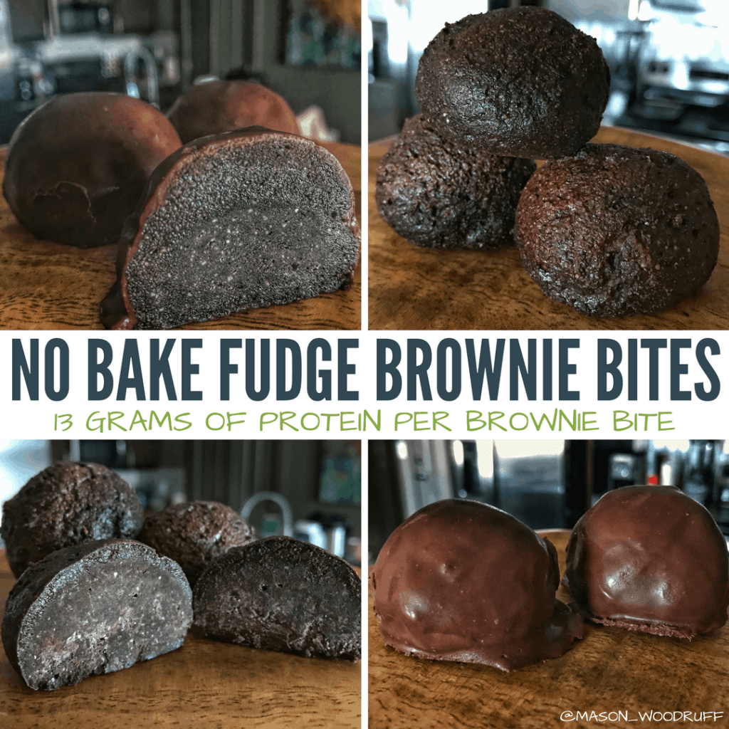 A recipe for high protein no bake fudge brownie bites made with real chocolate. These brownie bites pack all the flavor of fudge brownies into a 115-calorie protein bite with 13 grams of protein each.