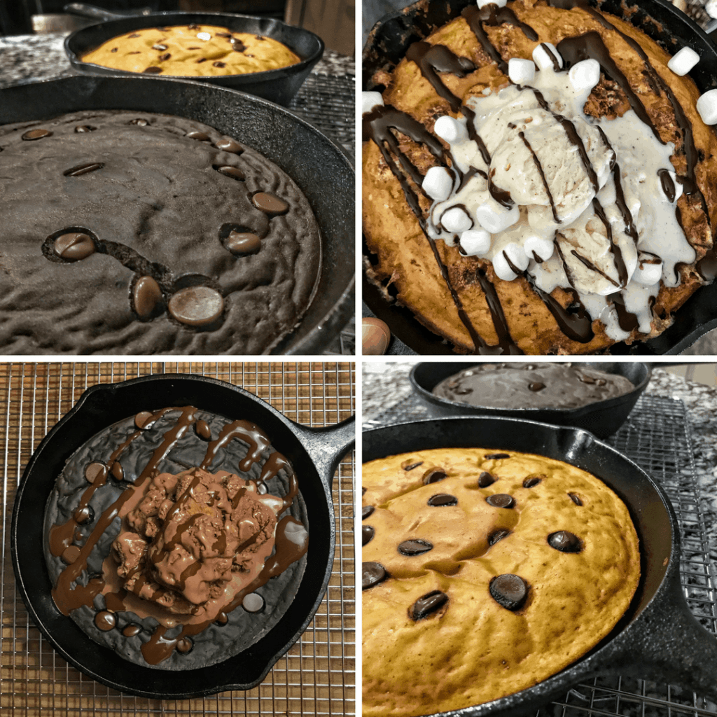 Four healthy pizookie recipes that all pack more than 50 grams of protein. Flavors include s'mores, Twix, triple chocolate, and red velvet, all topped with ice cream.