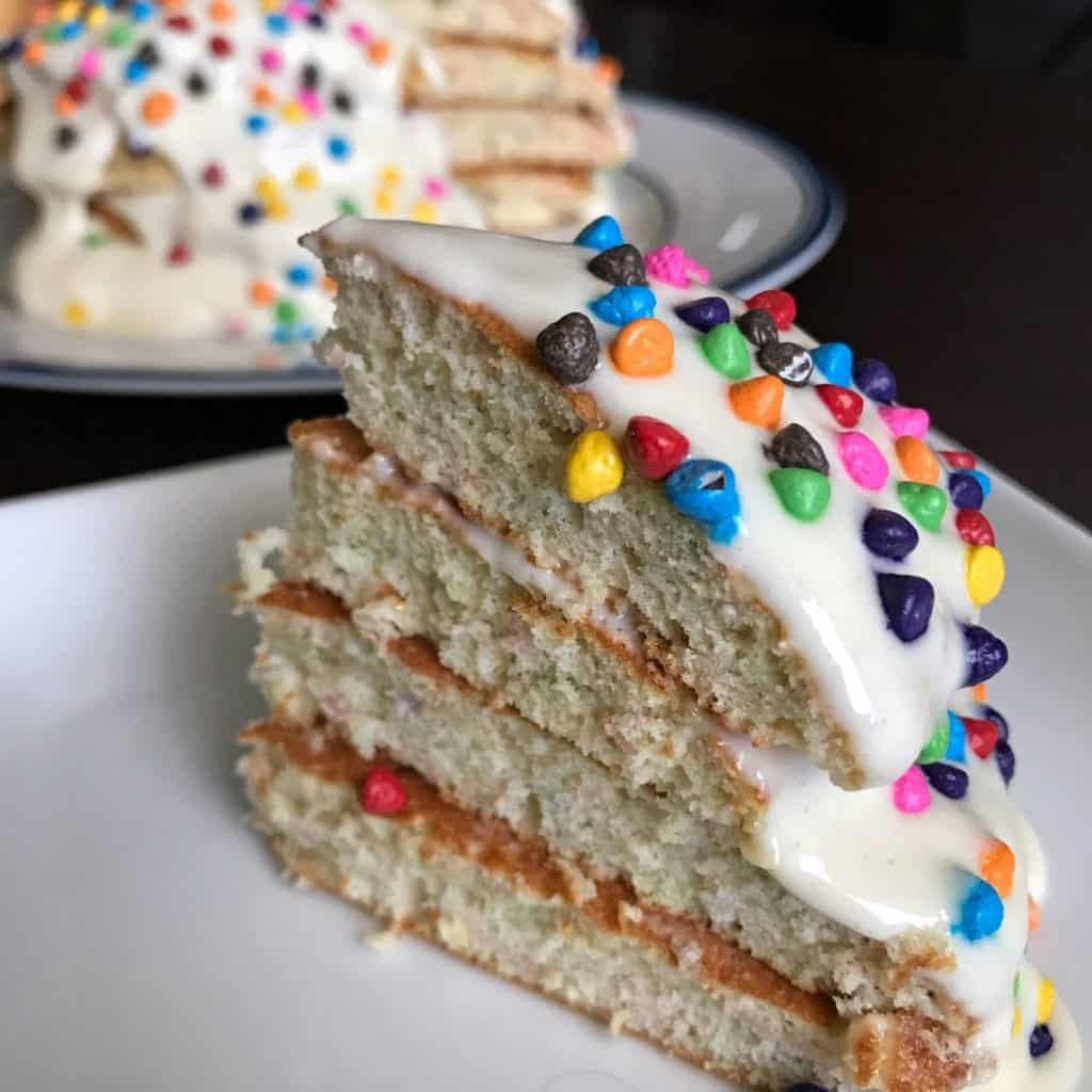 Birthday Cake Protein Pancakes With Vanilla Protein Frosting