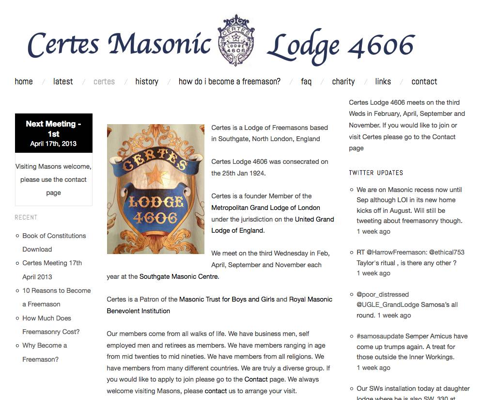 Certes freemason lodge website