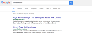 RAF Lodge Masonic Website Sitelinks