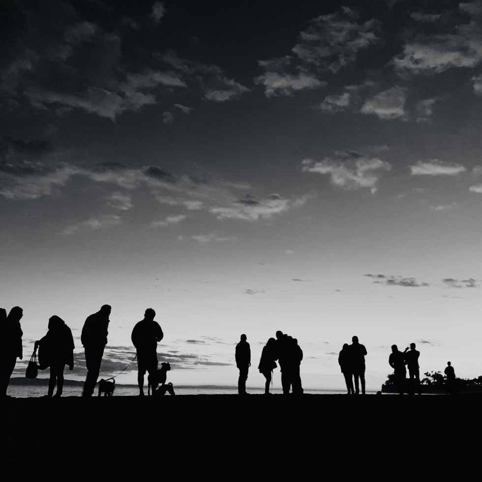 Black and white silouette at the beach