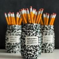 Desk Organizer Idea: Composition Book Mason Jar