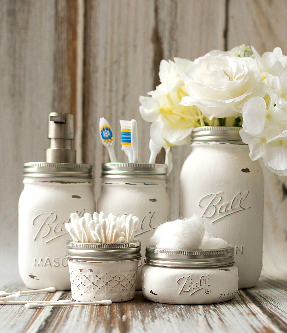 Mason Jar Bathroom Storage U0026 Accessories Decorating