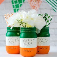 Irish Flag Mason Jars