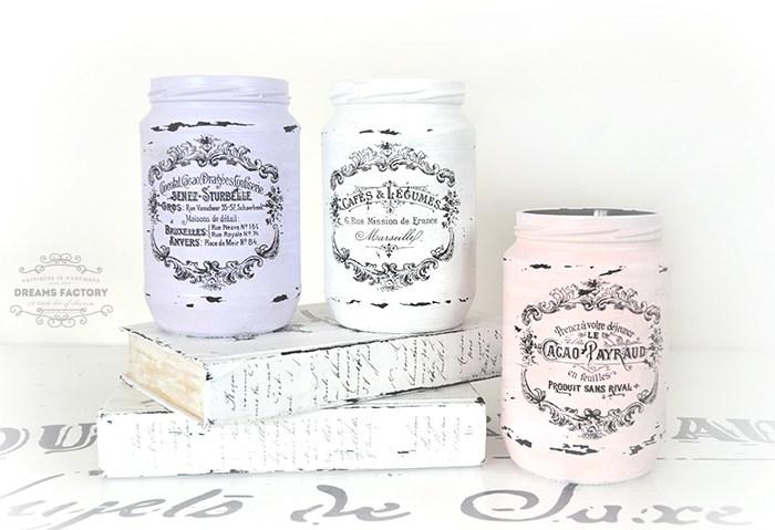 French Painted Mason Jars