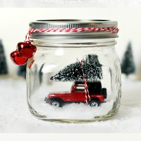 Mason Jar Snow Globe with Vintage Jeep Wrangler