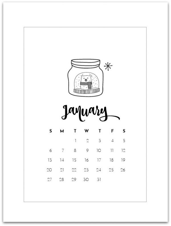 january 2019 calendar page