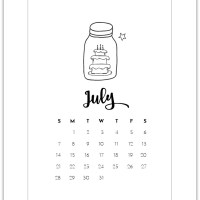 July Mason Jar Calendar Page