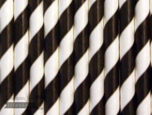Black #1 Candy Striped Biodegradable Paper Party Straw