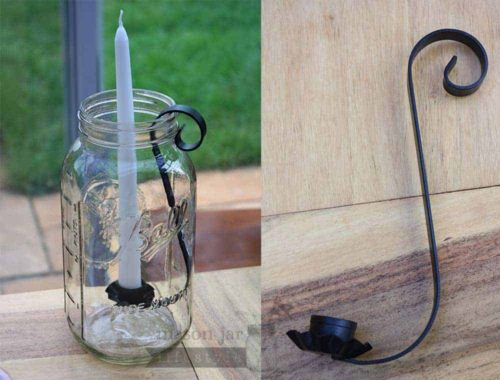 Black metal taper candle holder for half gallon Mason jars