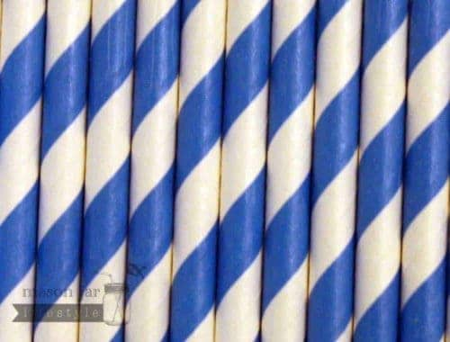 Blue #2 Candy Striped Biodegradable Paper Party Straw
