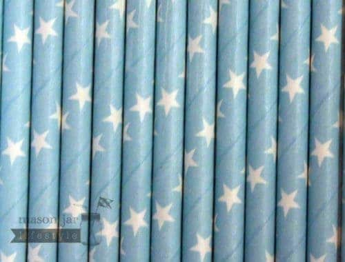 Blue #3 Stars Biodegradable Paper Party Straw