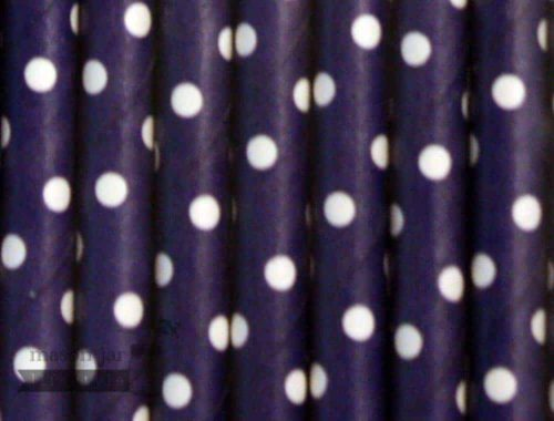 Blue #8 Polka Dots Biodegradable Paper Party Straw