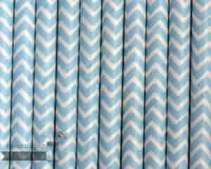 Blue #9 Chevron Biodegradable Paper Party Straw