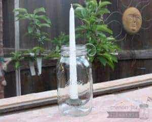 Galvanized metal taper candle holder for regular mouth quart Mason jars