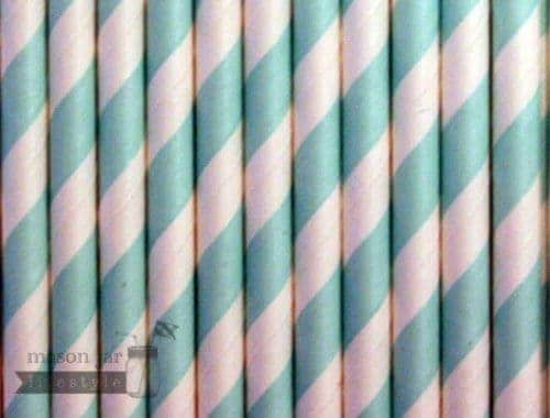 Green #2 Candy Striped Biodegradable Paper Party Straw