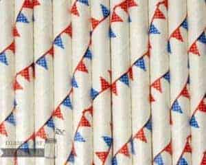 Multi Color #15 Red Blue Flags Biodegradable Paper Party Straw