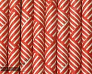 Red #4 Striped Squares Biodegradable Paper Party Straw
