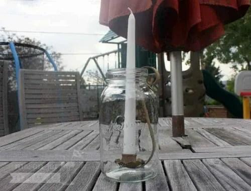 Sandstone finish metal taper candle holder for regular mouth quart Mason jars