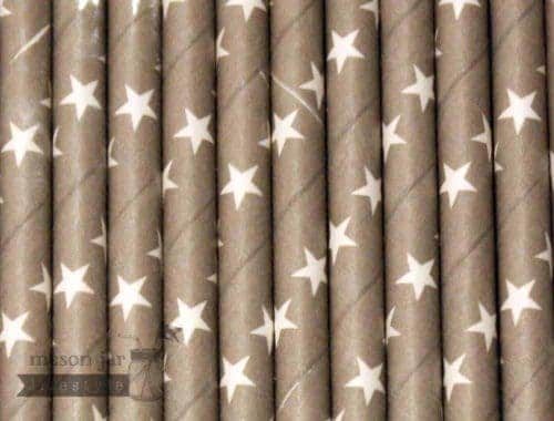 Silver #3 Star Printed Biodegradable Paper Party Straw