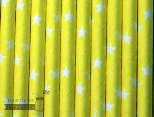 Yellow #2 Stars Print Biodegradable Paper Party Straw