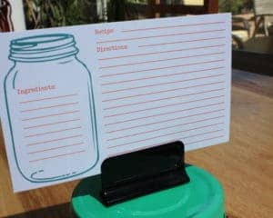 Mason jar recipe card in green clip lid