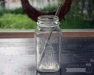 Thick glass smoothie straw in quart Mason jar