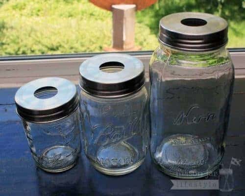 Stainless steel rustproof soap pump dispenser lid adapters on three sizes of regular mouth Ball Mason jars