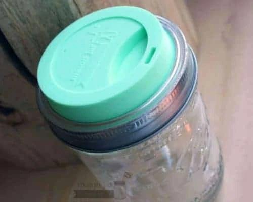 Mint green Mason Jar Lifestyle silicone drinking lid on wide mouth pint & half Ball jar