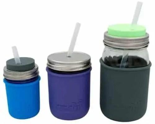 Short, medium, and long platinum cured silicone straws in half pint 8oz, pint 16oz, and quart 32oz Mason jars with Mason Jar Lifestyle silicone sleeves and lids