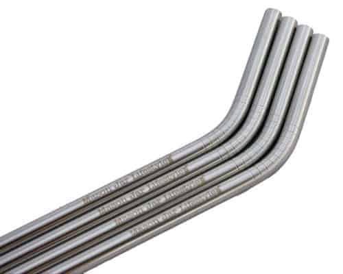 Close up of threading on 4 pack of thin bent stainless steel straws for pint Mason jars