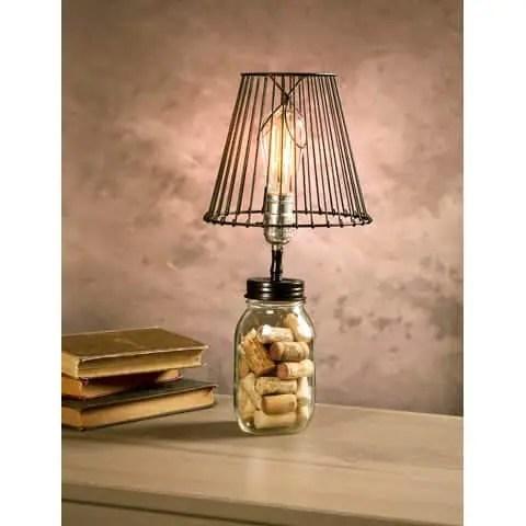 Mason jar black lamp adapter on jar