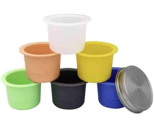 mason-jar-lifestyle-divider-dressing-cup-stainless-steel-lid-salads-snacks-wide-mouth-6-colors