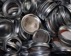 Mason Jar Lifestyle lids and bands pulled from new Mason jars bulk bin