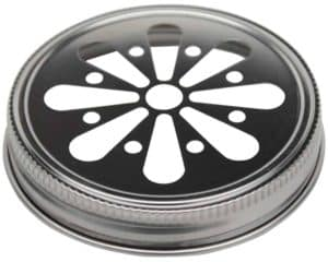 Stainless steel daisy flower cut lid for regular mouth Mason jars