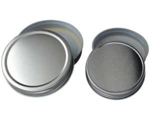 Shiny silver storage lids with plastisol seals for regular and wide mouth Mason jars