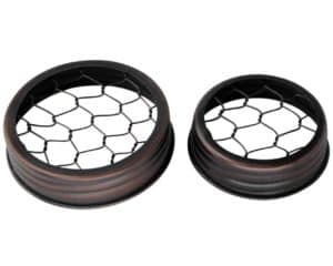 Oil rubbed bronze / antique copper chicken wire frog flower organizer lids for regular and wide mouth Mason jars