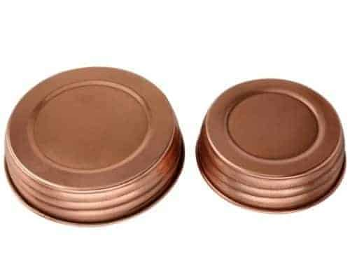 Shiny copper decorative lids for regular and wide mouth Mason jars