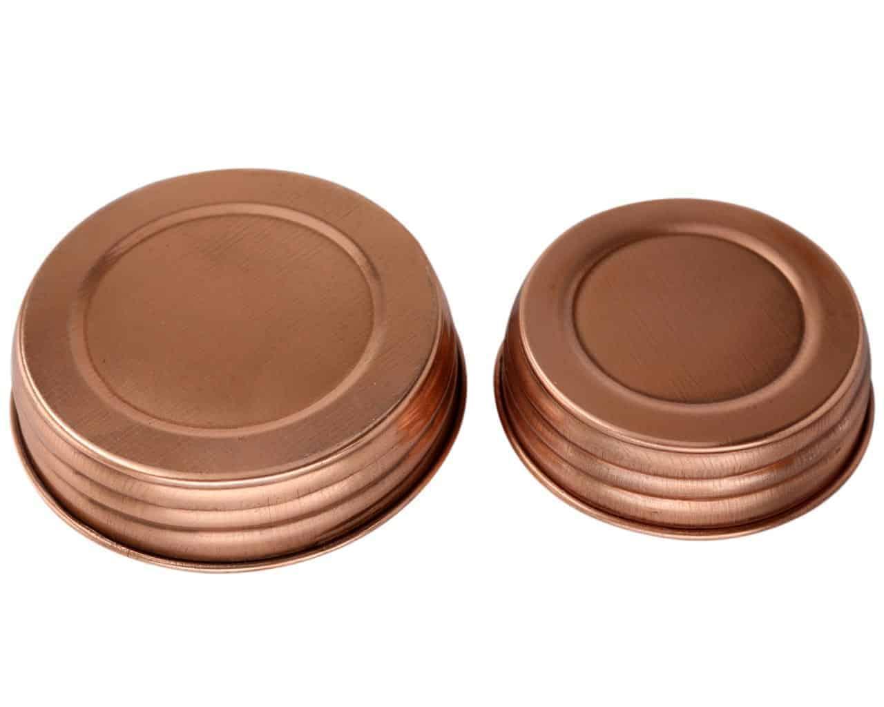 Shiny Copper Decorative Mason Jar Lids 4 Pack