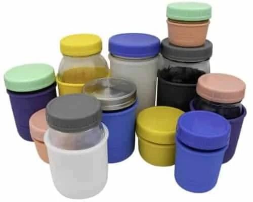 Mason Jar Lifestyle Leak proof plastic storage lids and silicone koozies on regular mouth 4oz, 8oz, 16oz, 32oz half pint quart Mason jars 5 colors