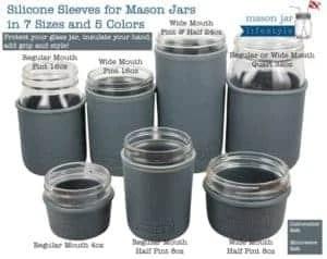 7 sizes of Mason Jars with silicone sleeves