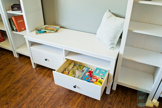 Living room renovation bench storage childrens toys Ikea
