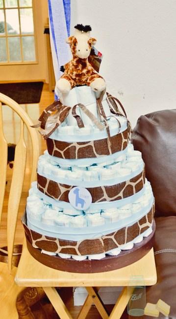 Giraffe Print Burlap around Diaper Cake for boy baby shower