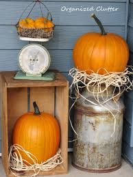 pumpkins on front porch for october