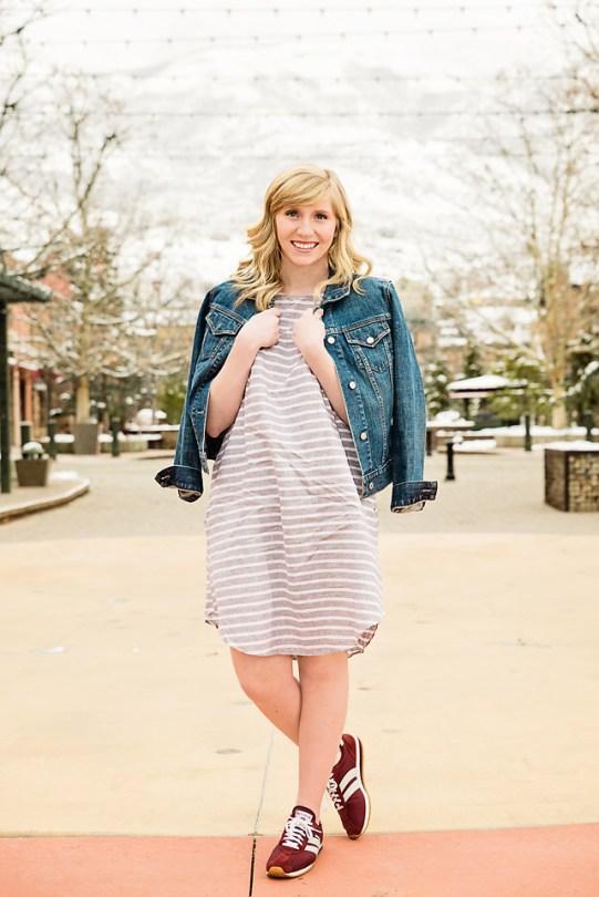 Spring Fashion Jean Jacket Linen dress full look