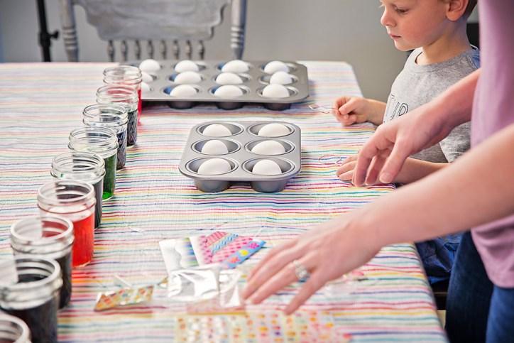 Easter Eggs dye set up