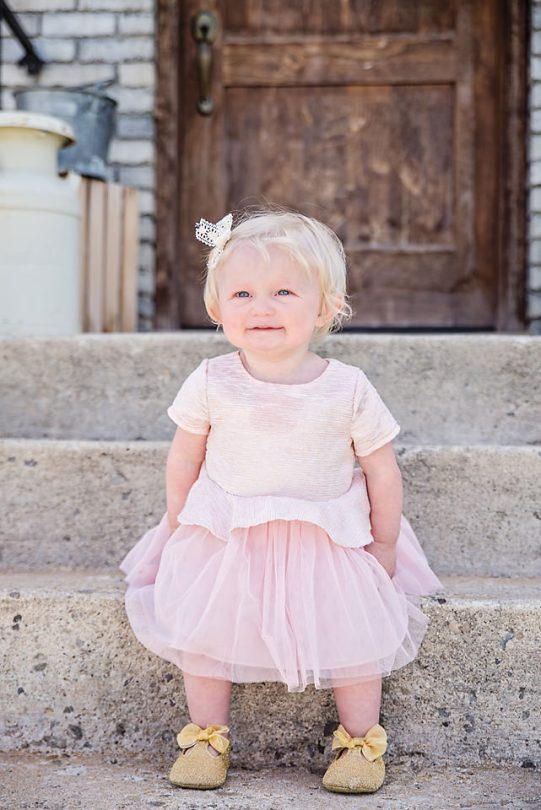 Easter Pictures smiling baby girl pink dress